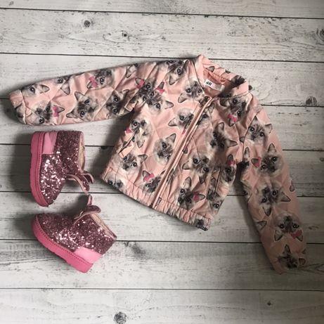 Куртка бомбер котики H&M демисезон 3-4 г 104 рост zara
