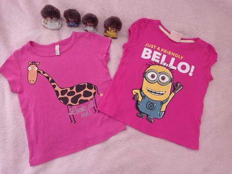 2x różowy t-shirt koszulka r 80