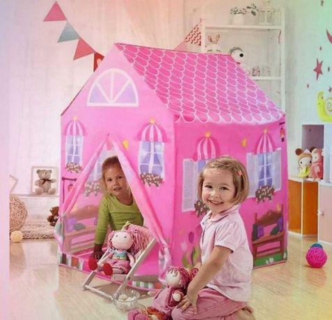 Розовый домик палатка игровая для принцесс