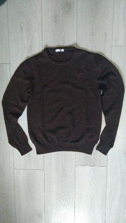 Sweter oryginalny VERSACE jak nowy! brązowy roz S/M 100% wełniany