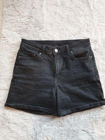 H&M szorty dżinsowe w kolorze czarnym