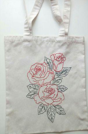 Екоторба / шоппер/ з натуральної тканини з вишитим принтом ,,троянди''