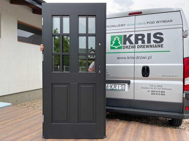 Drzwi zewnętrzne dębowe czarne RAL9004 szpros drewniane