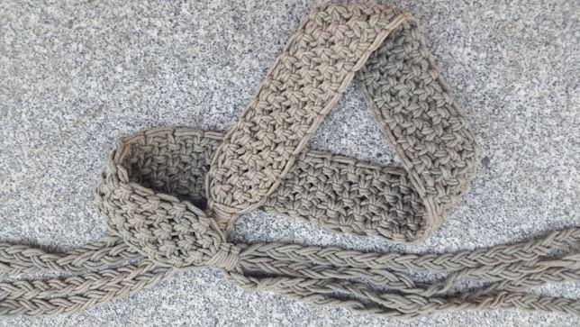 Pasek zaplatany - tkany beżowy- materiał - szer. 6cm FRĘDZLE