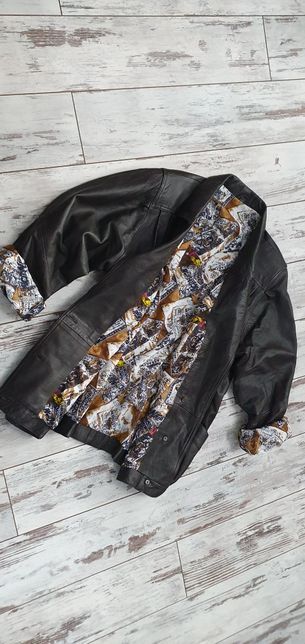 Czekoladowa piękna skórzana kurtka Vintage katana ze świetną podszewką