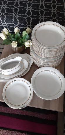 prl serwis obiadowy porcelana Chodziez bialy złocony