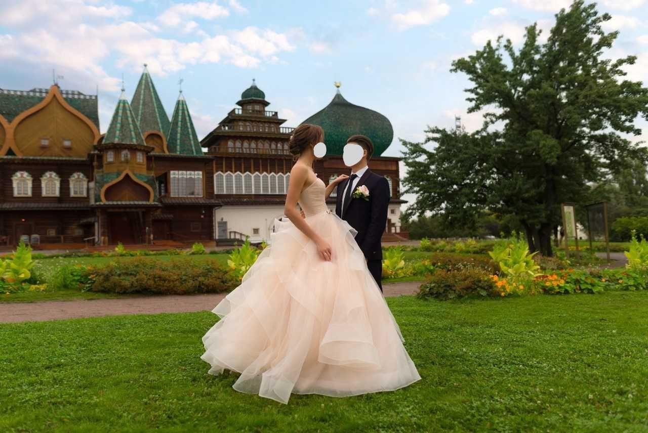 Воздушное свадебное вечернее платье размер 44