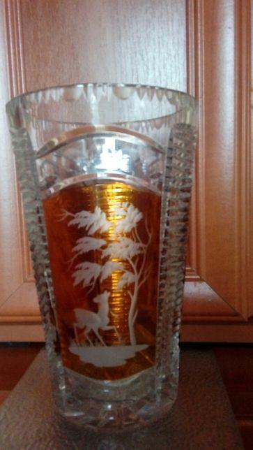 Reprezentacyjny Kryształowy wazon-motyw myśliwski