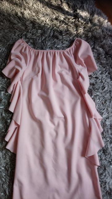 Sukienka mini ,falbanki ,Hiszpanka 38M ,pudrowy róż ,nowa