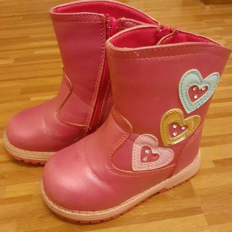 Różowe buty zimowe, kozaczki  24