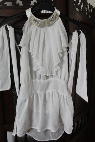nowa bluzka top szyfon biała marki bebe XS damska