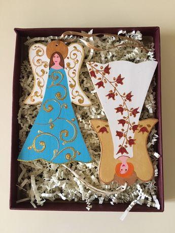 Подарок на Новый год Набор ёлочных украшений Ангелы ручная работа