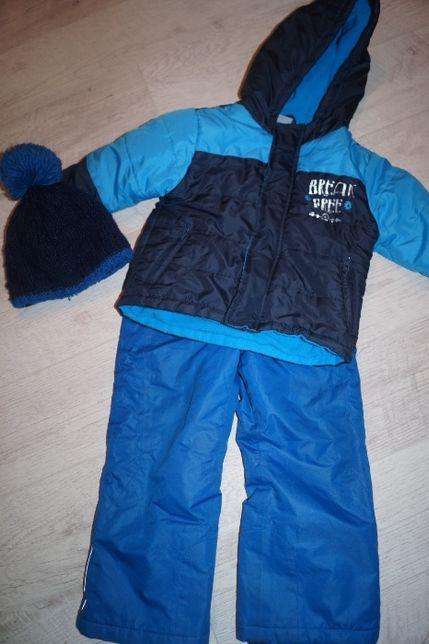 Spodnie narciarskie i kurtka r 98/104 i czapka