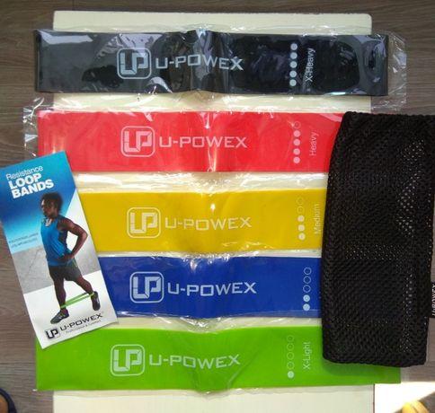 Оригинал Фитнес резинки U-powex комплект 5 шт + мешочек + буклет петли