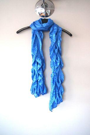 niebieski chabrowy kobaltowy szal szalik chusta niebieska arafatka hit
