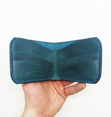 Кожаный кошелек синий, зелёный, циан, морская волна. #GRBOTH