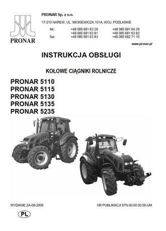 Instrukcja obsługi ciągnika Pronar 5110, 5115, 5130, 5135, 5235 PL