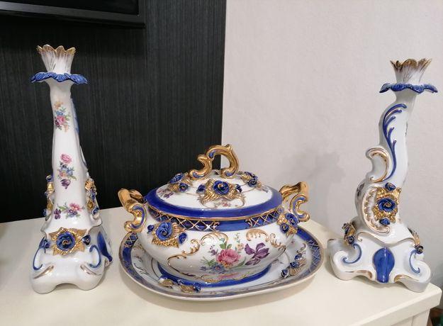 Terrina com dois castiçais em porcelana Myrtus