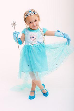 Платье Эльзы короткое голубое со шлейфом 80,90,100,110,120,130,140,150
