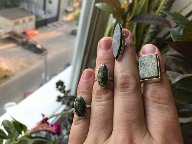 Кольца с натуральным Змеевиком. Ручная работа. 3 вида