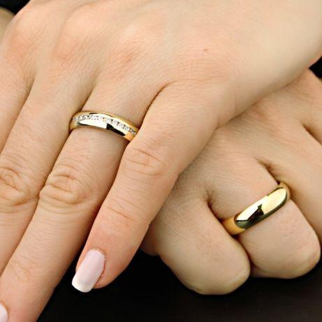 Eleganckie Złote Obrączki Ślubne Kryształki
