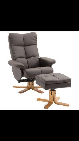 Fotel wypoczynkowy rozkładany podnóżek + schowek brąz