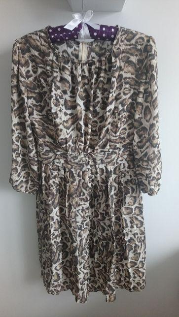Sukienka panterka xs xxs 34 reserved szyfon tiul
