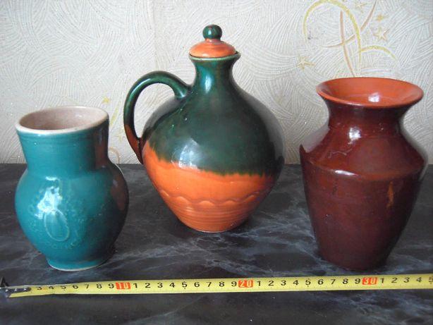 Графин и вазочка с крынкой керамические