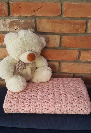 Śliczny Kocyk na szydełku dla dziecka/ kocyk handmade/ różowy