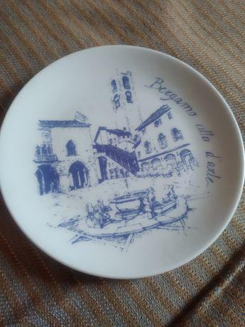 Тарелка Бергамо Италия фарфор сувенирная коллекционная настенная