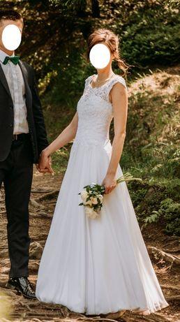 Suknia ślubna, koronka, muślin, szyta na miarę