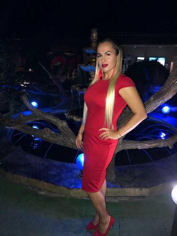 Платье вечернее красное классика футляр размер 50