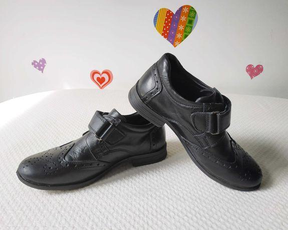 Туфли на липучках 18, 5 см черные ортопедические кожа тапочки