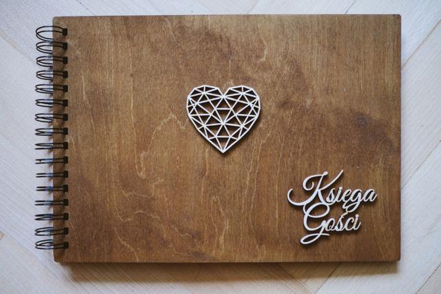Księga gości drewniana rustykalna