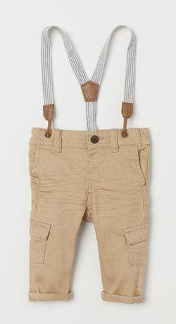 Стильные штаны брюки H&M с подтяжками и карманами, в новом состоянии