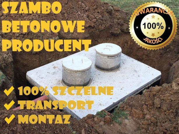 szamba betonowe zbiornik na szambo z atestem montaż, różna poj. 4-12m3