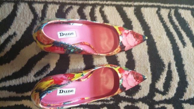 Czółenka szpilki Dune London kolorowe kwiaty tanio sprzedam