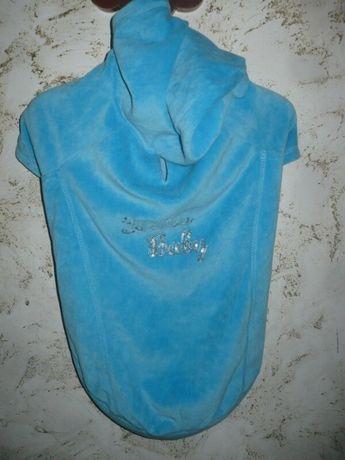 Попона Пуловер Куртка велюровая для собаки голубая М