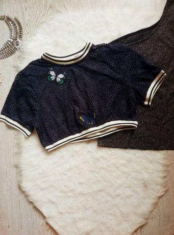 синий ажурный кроп топ короткая футболка с резинками патчами Зара Zara