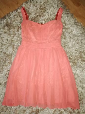 Sukienka Princess różowa łososiowa rozkloszowana New look 38 40