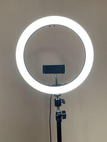 Кольцевая лампа LED 30 см со штативом и с держателем для телефона для