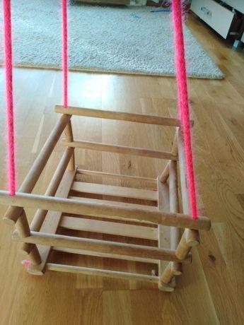 Podwieszana huśtawka drewniana dla dziecka do domu/ogrodu+poduszka