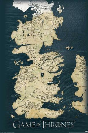 Plakat Gra o Tron mapa Westeros 61x91,5 cm nowe