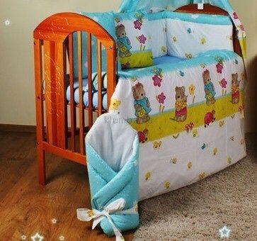 Кроватка с постелькой одеялом 9в 1подушкой матрац бортики карман