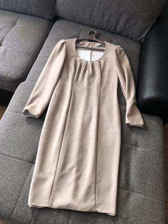Замшевое плалье бежевое,замшеве бежеве плаття нове