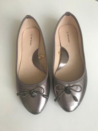 baleriny nowe top secret r. 37 srebrne buty płaskie