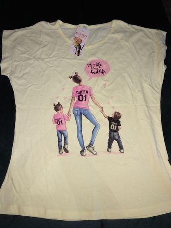 Nowy t-shirt mama, córka i syn rozm 2XL
