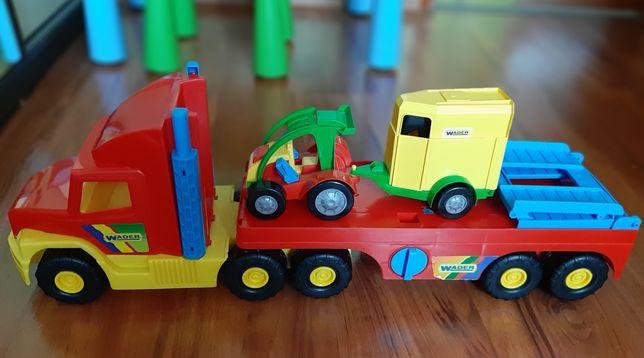 Samochód ciężarowy laweta WADER z przyczepą na konie SuperTruck GRATIS