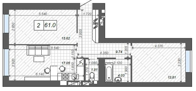 Большая 2-х комнатная квартира, центр города