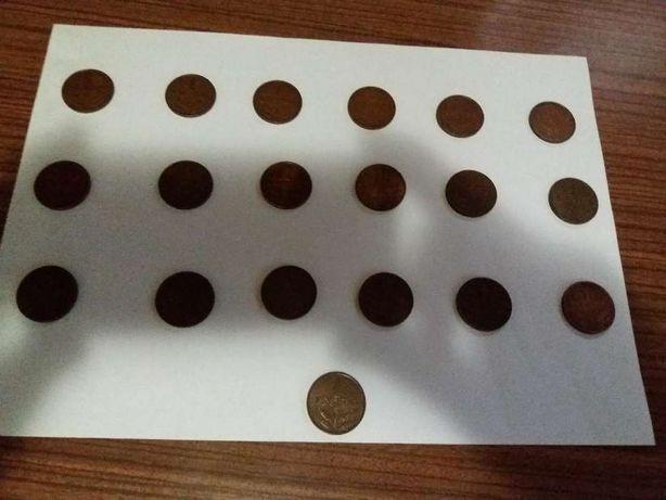 Colecção de 19 moedas de 1 escudo em bronze